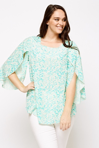Wrapped Sleeve Flower Printed Top