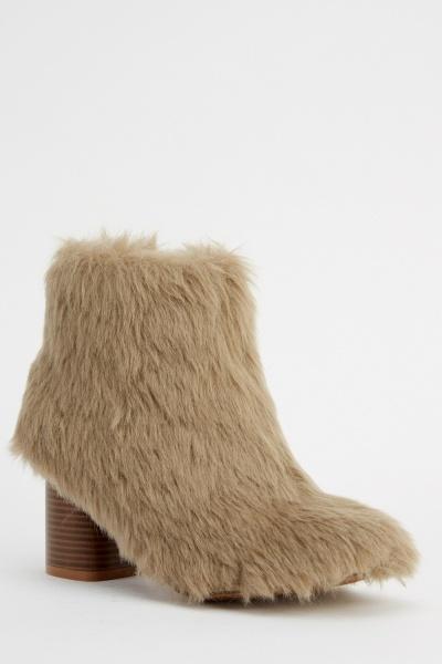Block Heel Faux Fur Boots