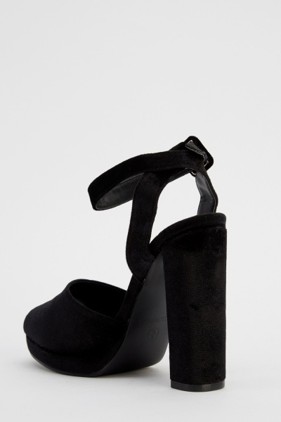 Block Heel Velveteen Sandals