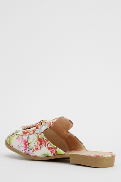 Floral Print Slip On Shoes
