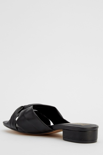 Ruched Front Faux Leather Slider Shoes