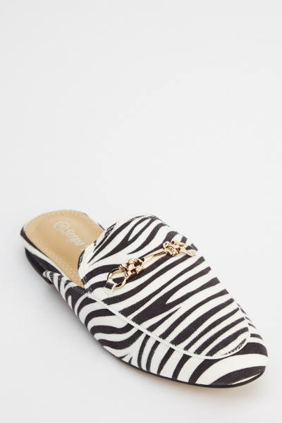 Zebra Printed Slip On Shoes