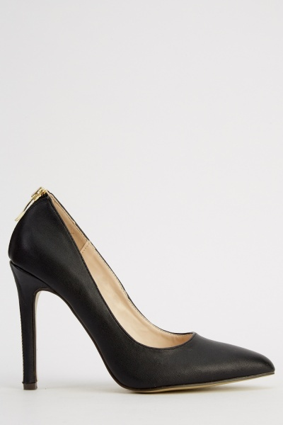 Zip Detail Black Court Shoes