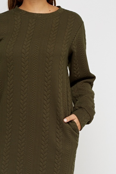 Cable Knit Green Jumper Dress