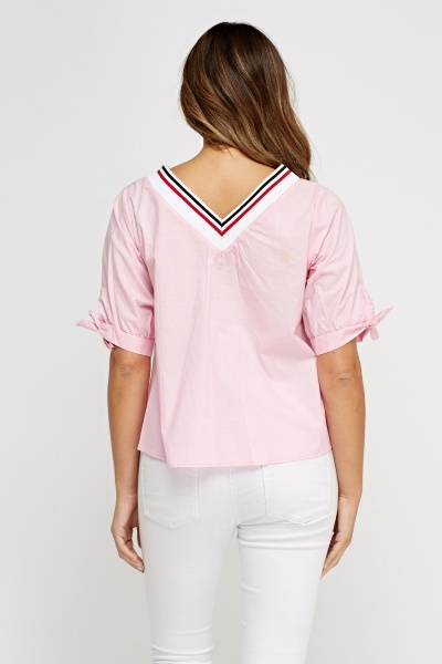 Contrast Tie Up Sleeve Box Top