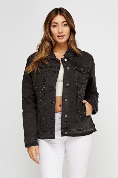 Encrusted Denim Charcoal Jacket