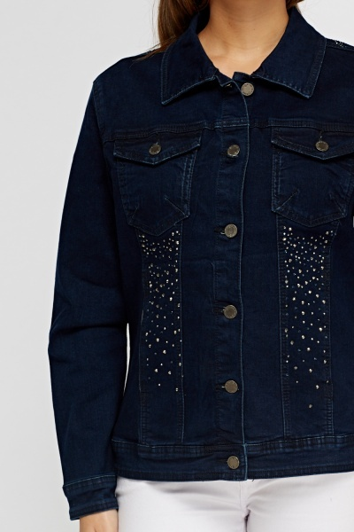 Encrusted Denim Dark Blue Jacket