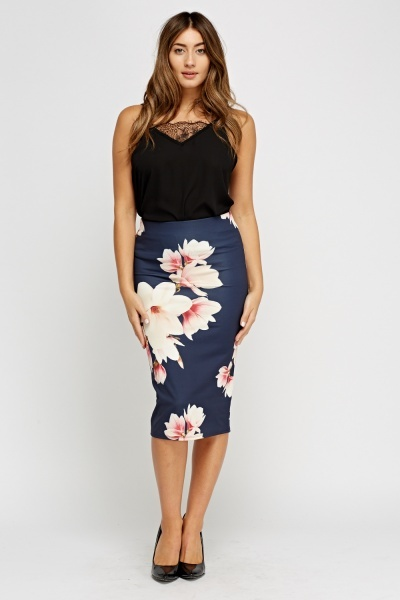 Floral Navy Pencil Skirt
