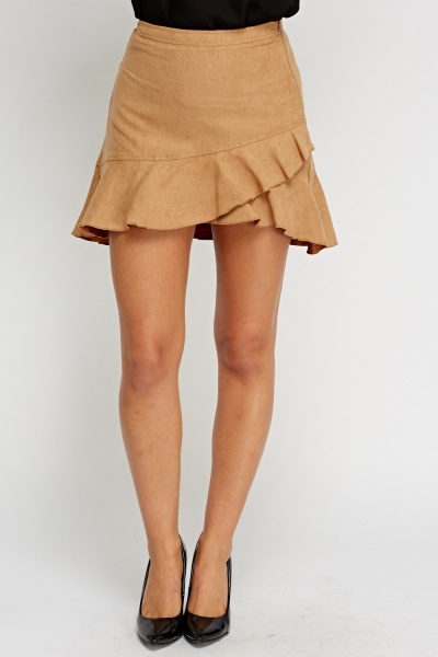 Frilled Suedette Mini Skirt