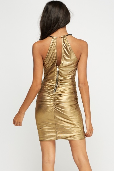 Gold Metallic Ruched Dress