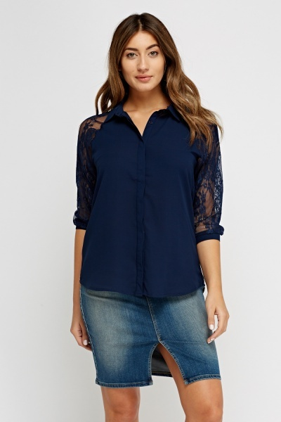 Lace Sleeve Sheer Blouse