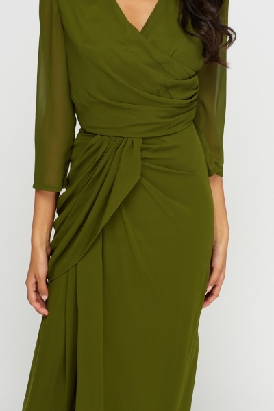 Mesh Sleeve Green Ruched Maxi Dress