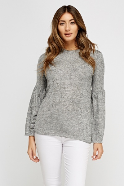 Metallic Insert Flare Sleeve Silver Top