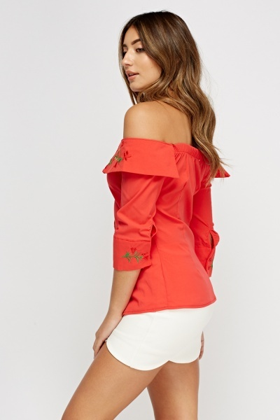 Off Shoulder Stitched Button Up Top