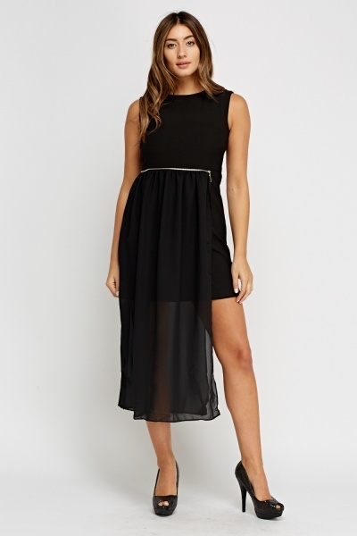 Overlay Contrast Midi Dress