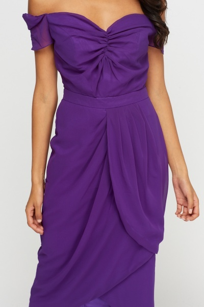 Purple Ruched Wrap Off Shoulder Dress