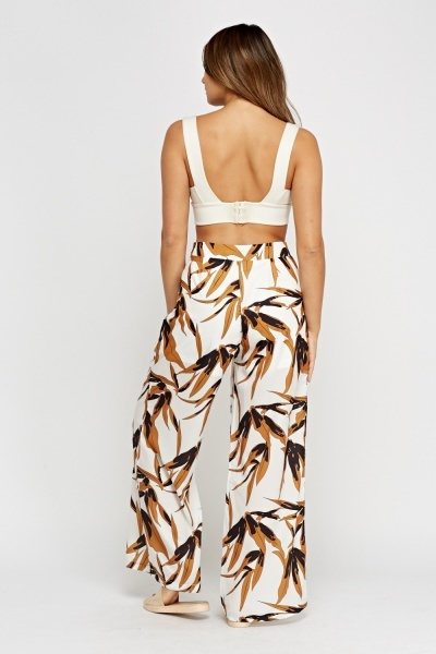 Silky Printed Wide Leg Trousers