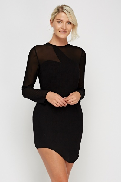 Contrast Black Long Sleeve Mini Dress