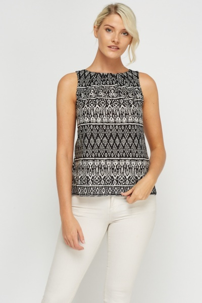 Cut Out Back Printed Sleeveless Top