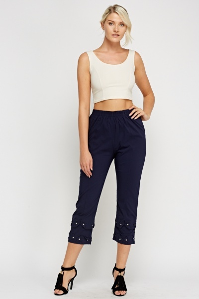 Detailed Hem Ankle Cropped Trousers