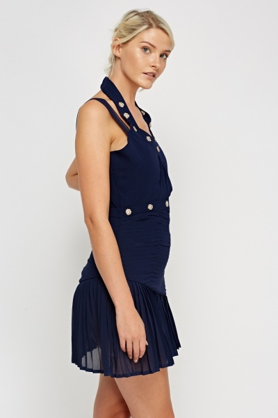 Embellished Pleated Navy Dress