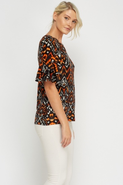 Flare Sleeve Printed Casual Top