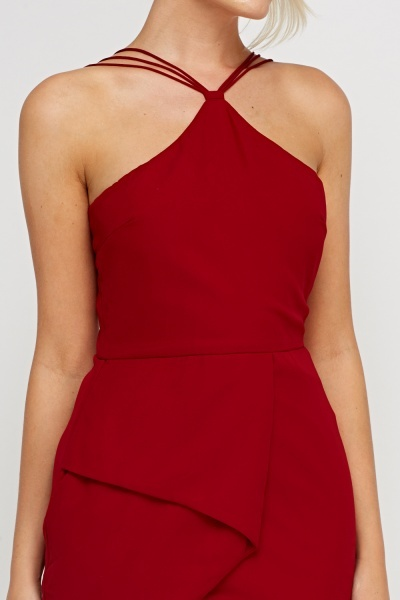 Maroon Detailed Back Dress