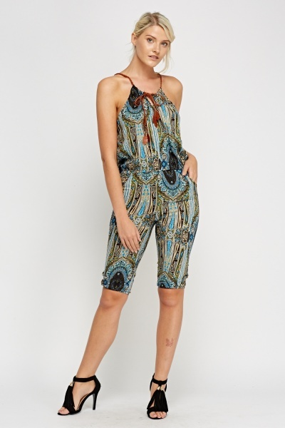 Paisley Printed Contrast Cropped Jumpsuit