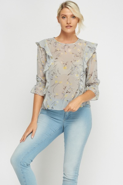 Sheer Printed Box Top