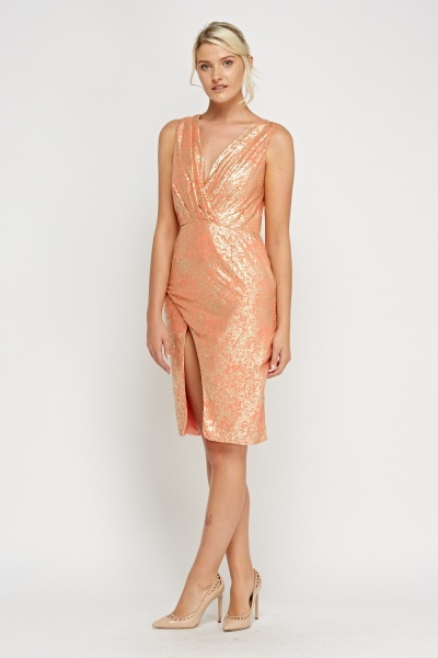 Wrap Metallic Speckled Coral Dress