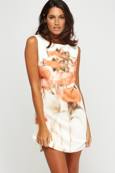 Cream Printed Front Shift Dress