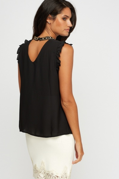 Embellished Choker Frilled Sleeve Top