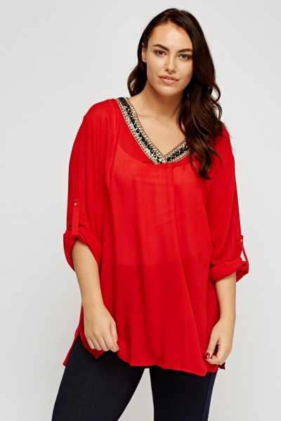 Embellished Neck Tunic Top