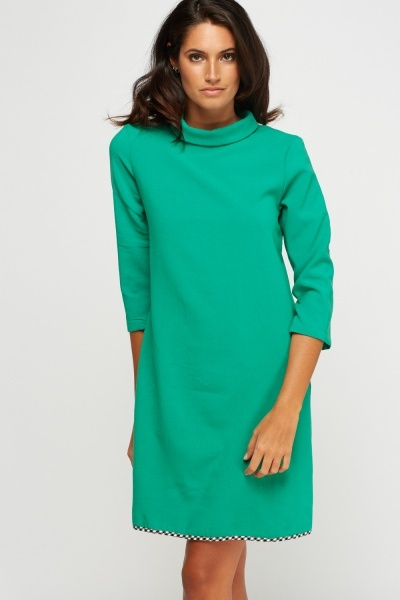 High Neck Shift Dress
