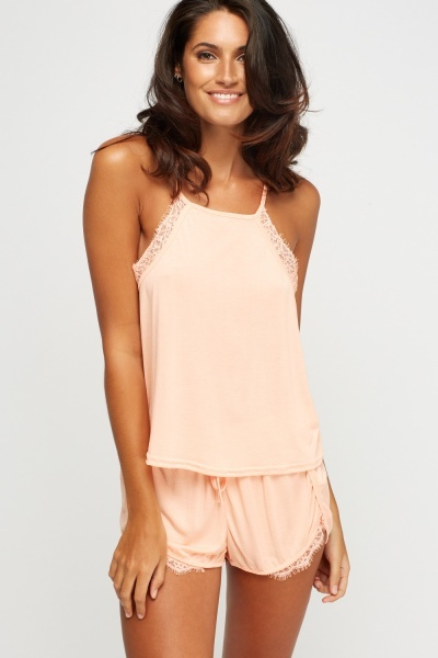 Lace Insert Top And Shorts Pyjama Set