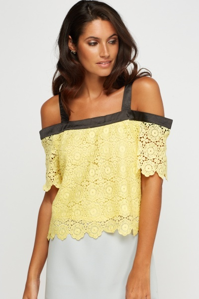 Mesh Overlay Cold Shoulder Top