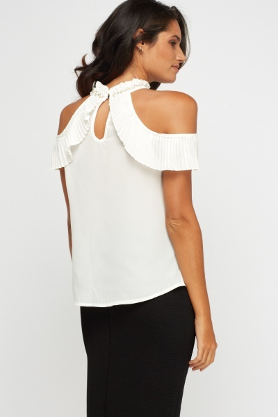 Pleated Embellished Neck Top
