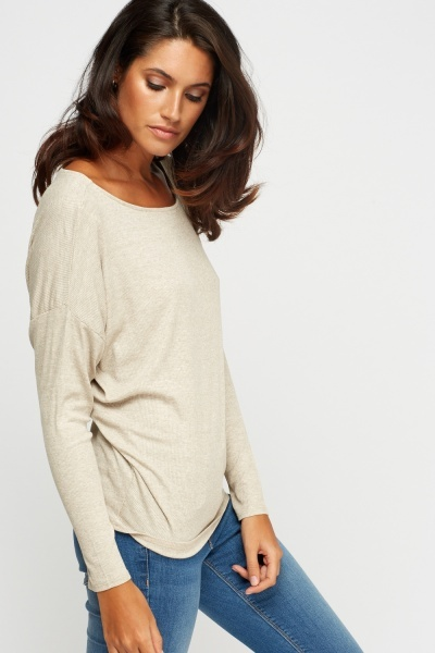 Ribbed Sand Batwing Top