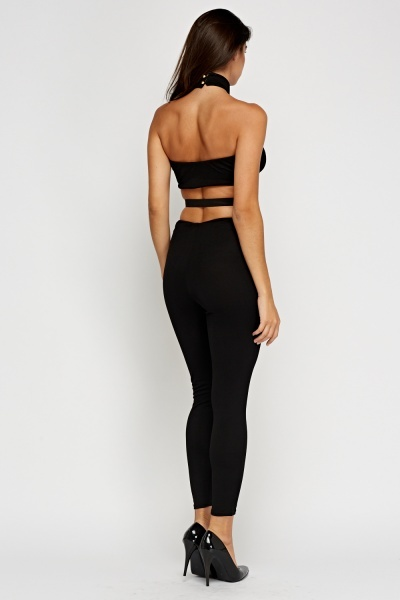 Bandeau Attached Choker Jumpsuit