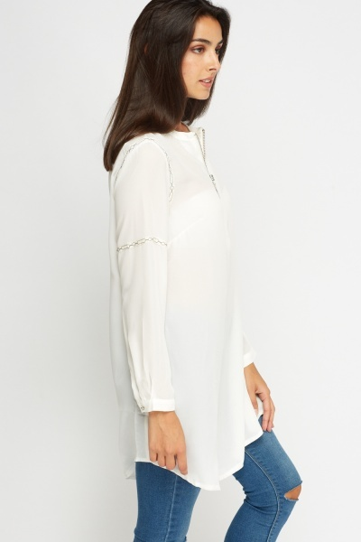 Embroidered Zip Front Tunic Top