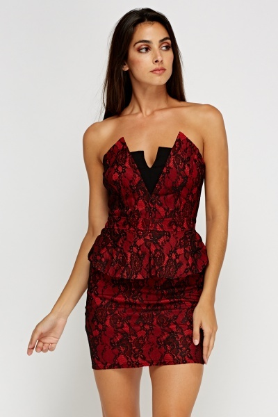 Laced Peplum Mini Bandeau Dress