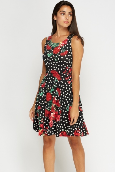 Mixed Print Black Swing Dress