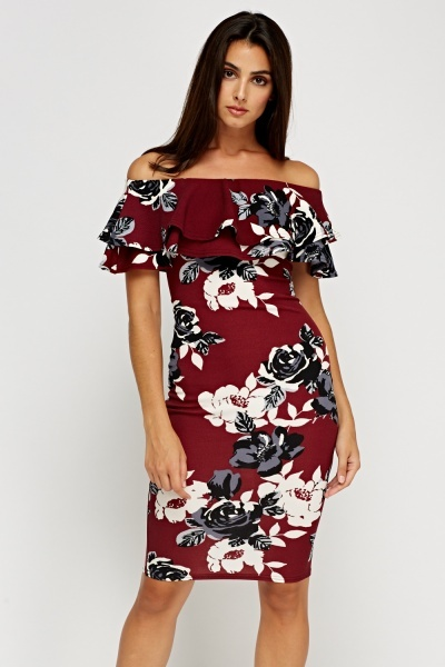 Off Shoulder Flared Printed Dress