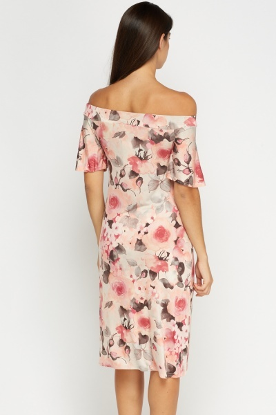 Off Shoulder Peach Printed Dress
