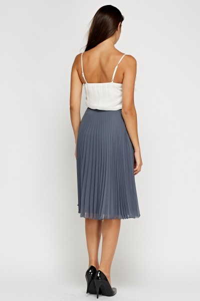 Pleated Sheer Midi Skirt