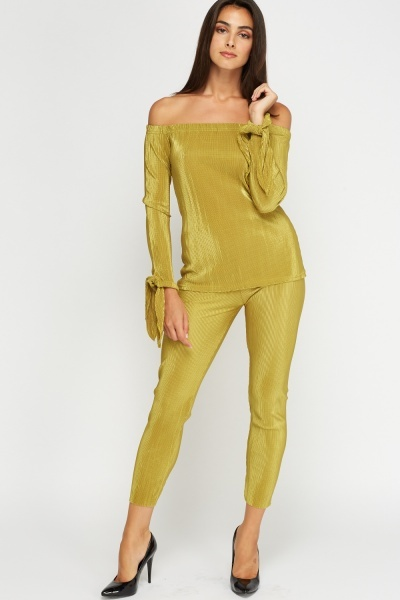 Pleated Shoulder Top And Trousers Set