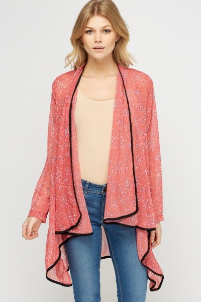 Asymmetric Contrast Printed Cover Up