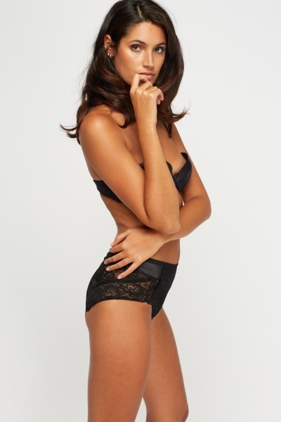 Black Firm Control Floral Lace Full Briefs