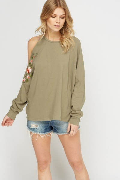 Embroidered Cut Out Shoulder Top