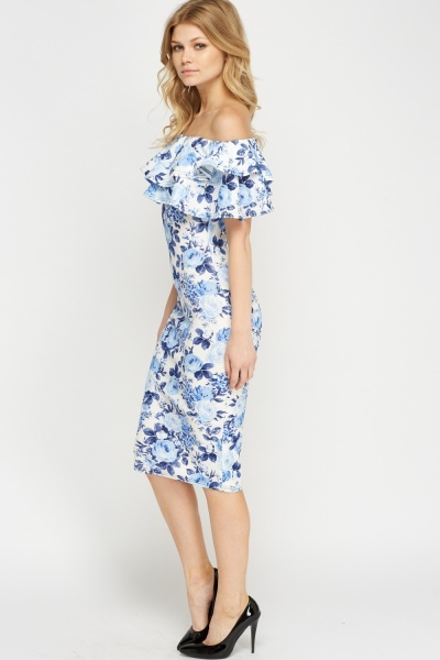 Flared Off Shoulder Midi Dress